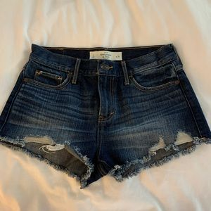 Abercrombie distressed high waisted denim shorts